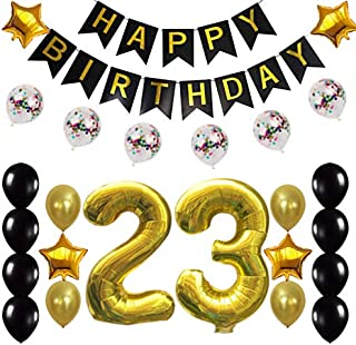 23rd Birthday Decorations Party Supplies Happy 23rd Birthday Confetti Balloons Banner and 23 Number Sets for 23 Years Old Party(Gold)