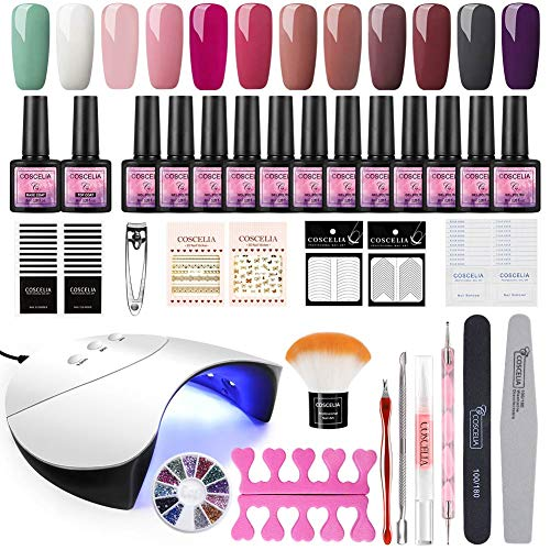 Coscelia UV Nagellack Gel Set 12pc UV Gel Lacken Farbgel Nagelset 36W UV+LED Nagellampe Gel-Lack Starterset Soak off Nail Art Gel Polish Kit
