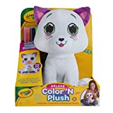 """Crayola Deluxe Color 'N Plush Kitty, 10"""" Stuffed Animal - Draw, Wash, Reuse – with 2 Ultra-Clean Washable Fine Line Markers, 1 Ultra-Clean Washable Broad Line Marker, 1 Washable Stamp Marker"""