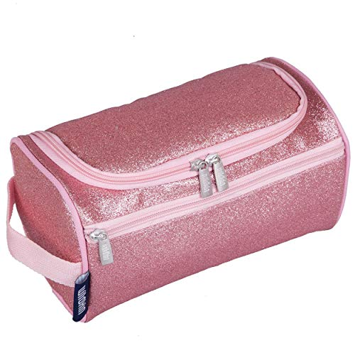 Wildkin Toiletry Bag for Boys, Girls and Adults, Multifunctional, Spacious and Ideal Sized for Weekend or Overnight Travel, Toiletry Bags Measures 9.5 x 5 x 5 Inches, BPA-Free (Pink Glitter)