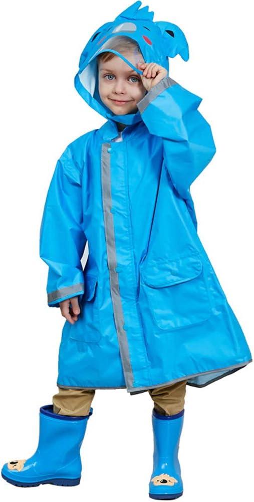 liyhh One Piece Rain Suit Kids Unisex 3D Cartoon Animal Hooded Raincoat Reflective Strip Poncho Rainwear for Boy Girl Blue L