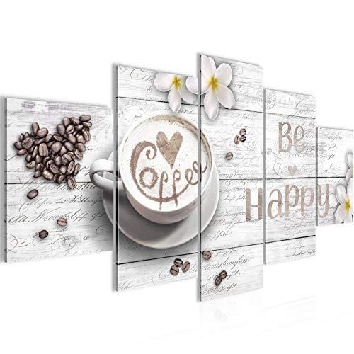 Bilder Küche Kaffee 5 Teilig Bild auf Vlies Leinwand Deko Wohnzimmer Be Happy Weiss 020652c