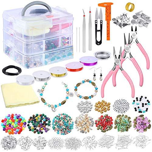 ZJL220 Kit de suministros para hacer joyas con cuentas, abalorios, alicates para joyas, abalorios, alambres para manualidades, collares, pulseras, pendientes, accesorios