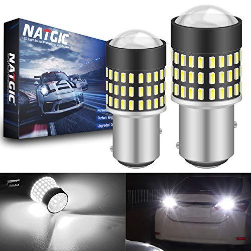NATGIC 1157 BAY15D 7528 Ampoules LED 1800LM 3014SMD 78-EX avec projecteur pour objectif pour feux de recul de stationnement de frein, Blanc xénon, 12-24V (pack de 2)