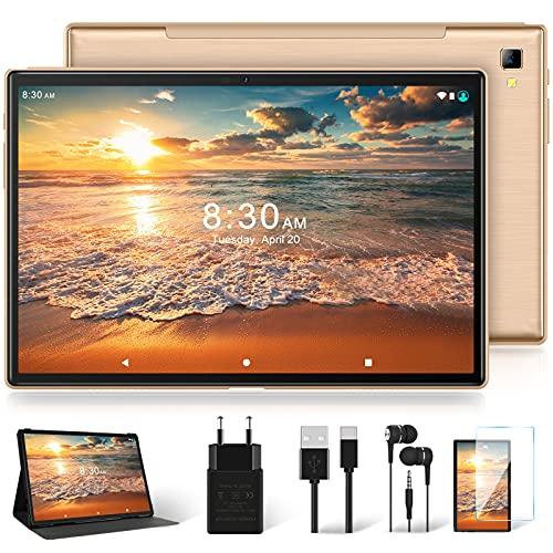 Tablet 10 Pollici con 5G WiFi 4G LTE Dual SIM, Android 10.0 YESTEL T5 Tablet PC Processore Octacore da 1.6 GHz, Face ID, FHD 1920*1200, Batteria da 6000mAh, 64 GB Espandibili Fino 128GB, 3 GB RAM, Oro