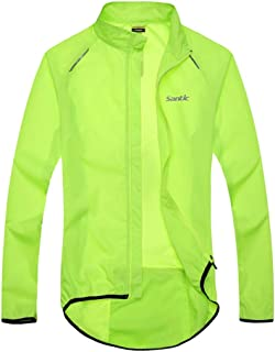 Santic Men's Cycling Skin Coat Jersey Bicycle Windproof Jacket Light Rain Coat Green
