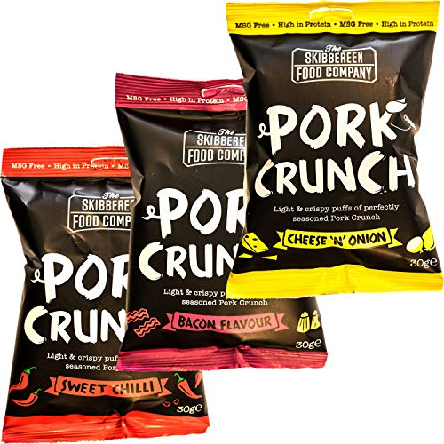 Skibbereen Pork Crunch Pub Snack Variety Pack - Deliciously Seasoned Crispy Pork Puffs in 3 Flavours - Low Carb & High Protein Snack - Keto Friendly - No Added Oils, No MSG - 12x30g (4 x Each Flavour)