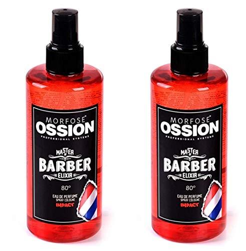 Morfose Ossion Eau de Cologne 2 x 300ml [=600ml] Kolonya 80° Alkoholgehalt, desinfizierend, Master of Barber Elixir, After Shave Spray Cologne langanhaltender Herren Duft (Impact)