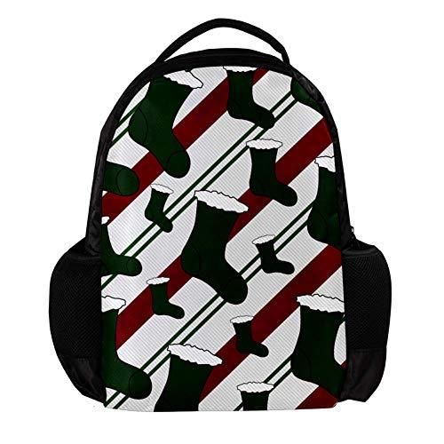 TIZORAX Groene Kerst Stocking Achtergrond School Rugzak Rugzak College Bookbag Reizen Laptop Daypack Tas voor Mannen Vrouwen