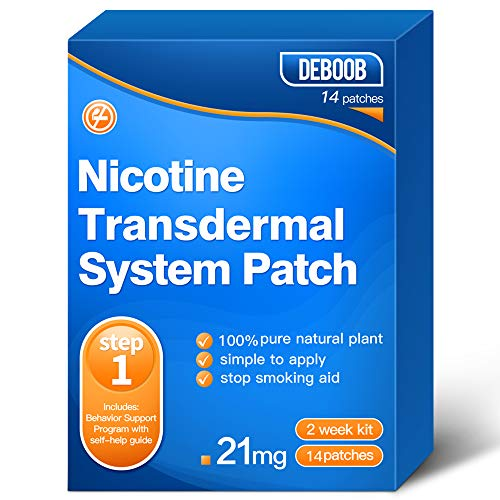 Nicotine Patches Step 1 to Quit Smoking - Delivered 24 Hours Transdermal System to Stop Smoking Aids That Work,Easy and Effective to Quit Smoking,Harmless Stop Smoking aid,21mg,14 Count