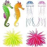 Adornos de acuario brillantes de silicona para decoración de peces, anémonas artificiales de mar, incluyendo medusas de coral