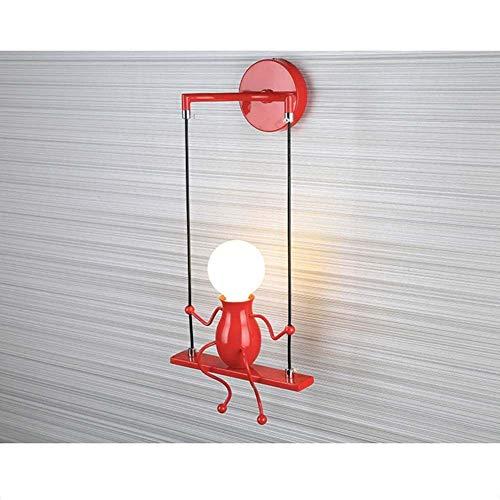 Skysep Iluminación Humanoide Creativo Lámpara de Pared E27 Vintage Industrial Apliques de Pared para Dormitorio Cocina Restaurante Corredor Escaleras Retro (Color : Red)