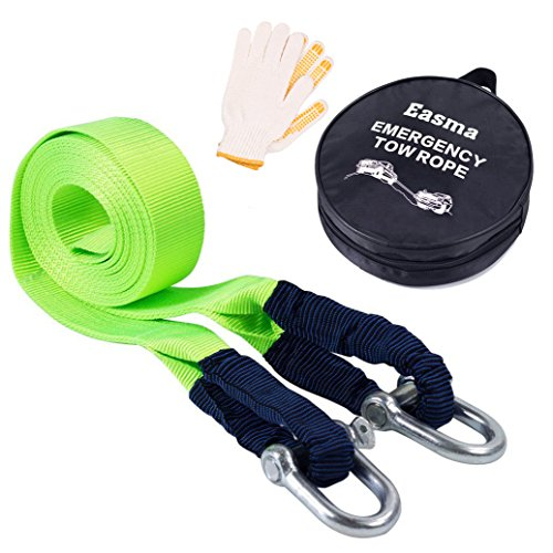 Easma Recovery Straps, Tow Straps for Cars Fluorescent 17600Ib 5M with 2 Shackles&2 Slip-Proof Gloves