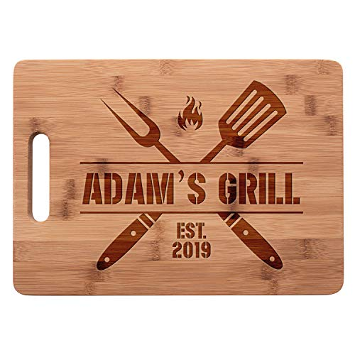 Personalized Cutting Board - Grilling Gifts for Men Women - Christmas Housewarming Gifts for New Home Wedding Gifts for Couple Custom Engraved Bamboo Cutting Board with Handle - 9 Designs Large
