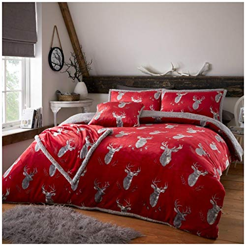 Soft & Cosy Teddy Murray Stag Duvet Set with Pillowcases, Easy Care Fluffy & Warm Quilt Set, Single Size Bedding, Red