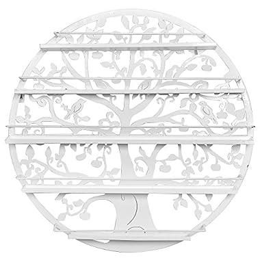 Tree Silhouette White Round Metal Wall Mounted 5 Tier Salon Nail Polish Rack Holder/Wall Art Display