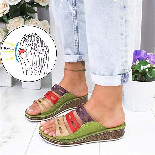 AFF Frauen Bunion Sandalen Corrector Orthesen Sandalen mit Senkfußeinlage Toe Begradigen Schuhe Thick-Soled beiläufige Roman Damen Hausschuhe,Grün,35