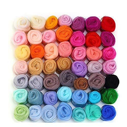 WOWOSS Lana de Fieltro 50 Colores Fieltro Lana Hilo de Fibra de Lana Suave Lana Suave para Manualidad DIY Muñecas de Bricolaje (3g/Colore)