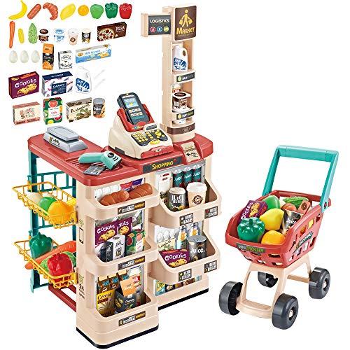 deAO Supermercato Negozio di Giocattoli Bancarella per Bambini con Carrello, Scanner, Registratore di Cassa e Oltre 20 Accessori di Imitazione Inclusi