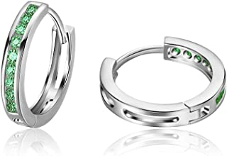Carleen 925 Sterling Silver Channel Setting Round Cut Cubic Zirconia CZ Simulated Diamond Small Hinged Huggie Hoop Earrings for Women Girls Diameter 18mm