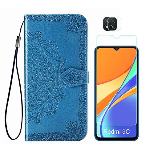Funda para Xiaomi Redmi 9C + Protector de Pantalla Cristal Templado + Protector de Cámara Lente, Carcasa Libro con Tapa Flip Case Antigolpes PU Cuero Mandala Azul