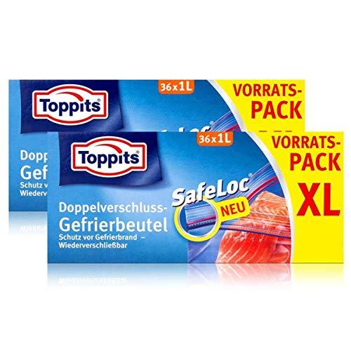 Toppits Doppel-Verschluss Gefrierbeutel 36x1 Liter (2er Pack)