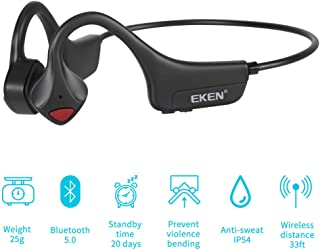 EKEN Bone Conduction Headphones, Bluetooth 5.0 with Mic Open-Ear Wireless Stereo Music Lightweight 25g Sweat-Resistant Answer Phone Call for Running, Hiking, Driving, Bicycling - Black