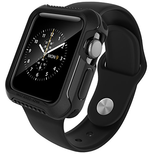 Caseology Custodia Apple Watch 2 42mm, [Serie Vault] Cover, Sottile ma Robusto Paraurti Protettivo in Resistente TPU Antiurto [Nero] per Apple Watch Serie 2 - Solo 42mm