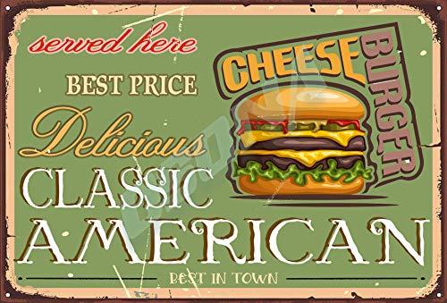 OSONA Utsökt klassisk amerikansk bästa prisservice här osthamburgare retro nostalgisk traditionell rostfärg burk logga reklam slående väggdekoration gåva