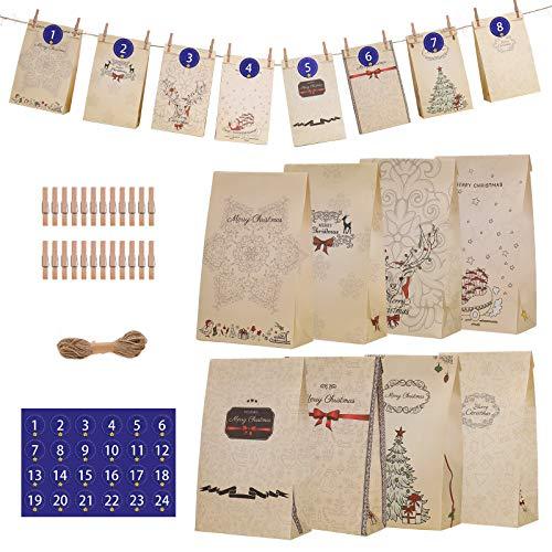 MaoXinTek Sacchetto Regalo di Natale 24 Pezzi Calendario Dell'avvento Sacchettini di Carta con 1-24 Adesivi Numerici per Caramella Cioccolato Biscotti Torta