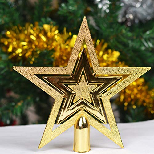 Yumira 15cm / 20cm Weihnachtsbaumspitze Glänzender Stern Weihnachtsbaum Topper Kunststoff Baumspitze 5-Punkt-Sterne, Weihnachtlicher Baumschmuck für Zuhause, Urlaub