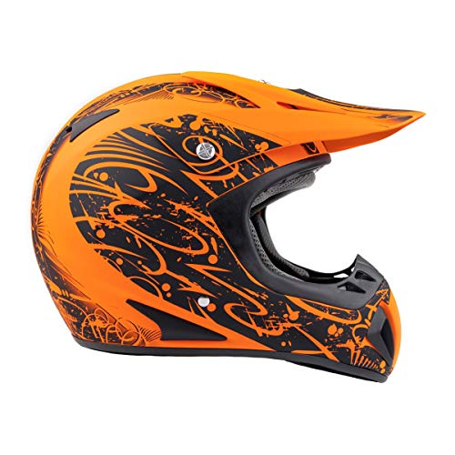 Typhoon Adult Dirt Bike Helmet ATV Off Road ORV Motocross Helmet DOT Motorcycle Matte Orange (XL)