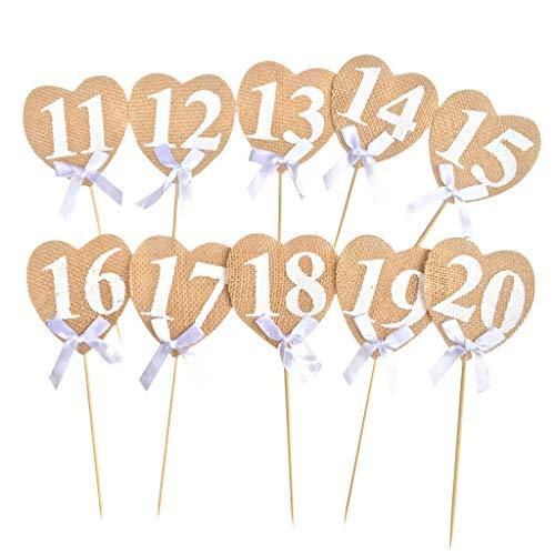 non-brand Baoblaze 10 Pièces Numéros de Table en Bois avec Support de Base pour Mariage Anniversaire Fiançailles Décoration - 11 à 20