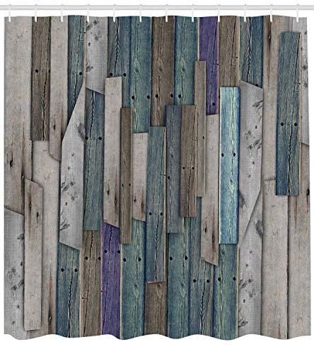 KUKUALE Rustikaler Duschvorhang Bild von blau-grauen Holzbrettern Scheunentür Nägel Landleben Thema Druck Badezimmer 180X180CM (71X71IN)