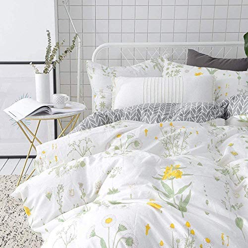 VClife Flower Bedding Sets Queen Botanical Duvet Cover Flower Comforter Set (90 x 90), Yellow White Floral Green Branch Bedding Set, Reversible Gray Geometric Arrow Quilt Cover, Zipper Closure, Queen