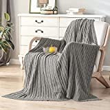 Lynnlov 100% Cotton Cable Knit Throw Blanket for Couch 50' x 60', Ultra Soft Cozy Chic Trave Knitted Blankets for Bedroom Living Room, Decorative Lightweight Woven Blanket for Sofa Chair, Grey