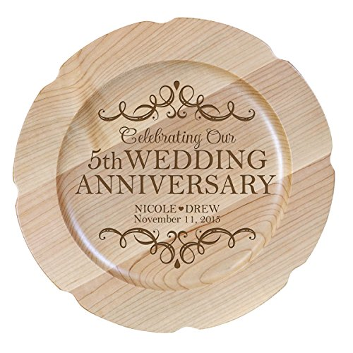 LifeSong Milestones Personalized 5th Wedding Anniversary Plate Gift for Couple, for Her, Happy Anniversary 12' D Custom Engraved for Husband or Wife USA Made (Design 1)