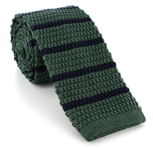 Michelsons of London Vert/Marine soie tricoté rayé maigre cravate de