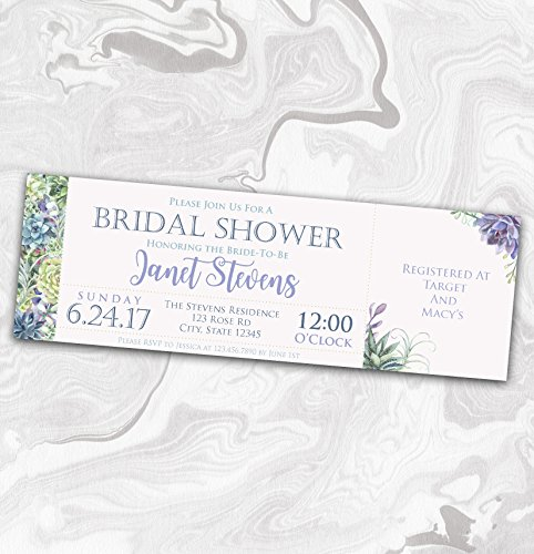 Succulent Bridal Shower Invitation - Garden Wedding Shower Ticket Invite - Couples - Rehearsal - 2x6