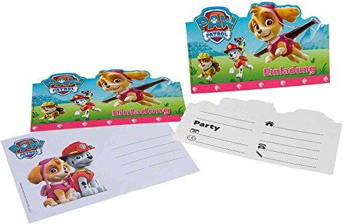 12-teiliges Einladungskarten-Set * PAW PATROL - PINK * für Geburtstagsfeier oder Motto-Party // mit 6 Einladungen und 6 Umschlägen // Kinder Geburtstag Party Invitations Motto Hund Nickelodeon