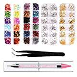4 Boxes Nail Art Rhinestones Nail Rivets Studs Charms Nail Sequins 3D Nail Gems Decoration Kit Acrylic Crystals with Curved Tweezers Point Drill Pen