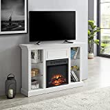 GOOD & GRACIOUS Mid Century Modern Electric Fireplace TV Stand, Fit up to 55' Flat Screen TV with Tempered Glass Adjustable Shelves Open Storage Cabinet Entertainment Center for Living Room, White