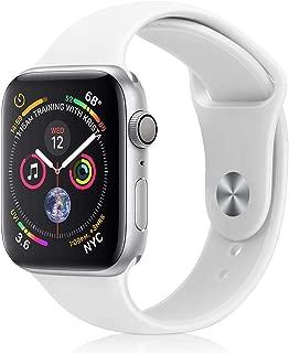 コンパチブル Apple Watch バンド,アップルウォッチ バンドシリコンiWatchバンド38mm40mmスポーツバンド 交換ベルト 柔らかい,耐衝撃 防汗apple watch series5/4/3/2/1に対応 (38mm/40mm, 白)
