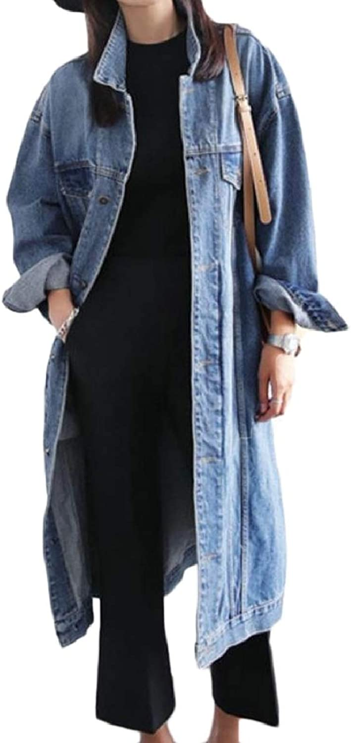 CBTLVSN Womens Washed Classic Lapel Neck Maxi Fashion PlusSize Denim Coat
