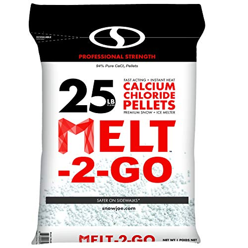 Snow Joe AZ-25-CCP Melt-2-Go 94% Pure Calcium Chloride Pellet Ice Melter, 25-lb Resealable Bag - Amazon - $13.98 $13.97