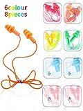 Honoson Tapones para los oídos de silicona con cable, impermeables, forma de árbol, reutilizables, para dormir, nadar, bañarse y viajar, Color Set 1, 8 Pieces