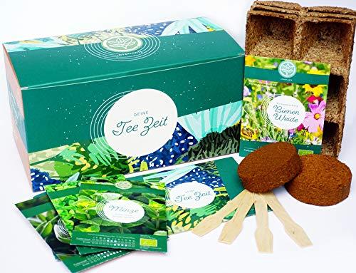 Bio Geschenk Anzuchtset, Bio Tee Kräuter Pflanzset mit 3 Sorten Kräuter Samen, wie Grüne Minze, Salbei und Zitronenmelisse, Geschenk Set zu jedem Anlass, ideales Tee Geschenk für Frauen und Männer
