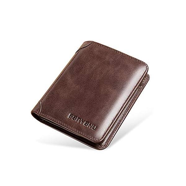 Wallet for Men Mens Leather Wallet Slim Front Pocket Wallet Billfold RFID Blocking BANYANU 1