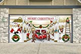 Victory Corps Outdoor Christmas Holiday Garage Door Banner Cover Mural Décoration 7'x16' - Huge Santa's Reindeer Barn Holiday Garage Door Banner Décor Sign 7'x16'