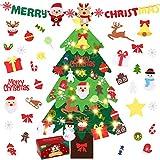 Becoyou Albero di Natale in Feltro, 3.2ft Albero Natale Feltro per Bambini con 33 Pezzi Ornamenti Staccabili DIY Regali di Natale di per la Decorazione della Parete del Portello